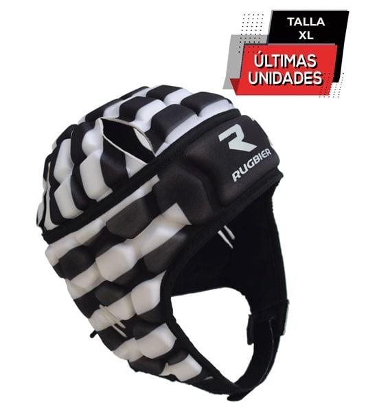 casco rayas negro y blanco