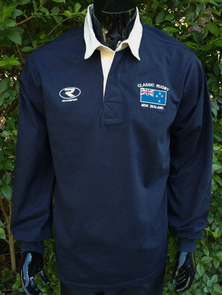 65d3a953899ec Polo Rugby manga larga Liso -New Zeland- azul marino - Rugbier
